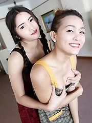 Two Thai ladyboys get naked and suck and fuck tourist cock and balls