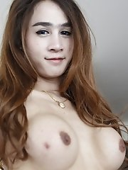 20yo busty Thai ladyboy gets a facial after fucking white cock