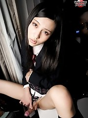 Chuling is a cross-dressing cutie with very natural beauty. Dressed as a slutty school girl today, Chuling wants to stay home and study human anatomy