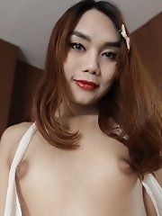22 year old small tits ladyboy gets fucked and sucks a tourist cock and gets a facial