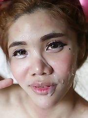 18yo redhead Thai shemale sucks off a fat white cock