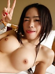 19yo busty Thai ladyboy gets ass fucked by white stranger