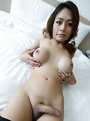 26yo hot Thai ladyboy loves gets covered in jizz from white cock