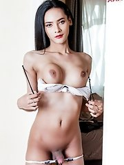 Ladyboy Jamin is a stunner with her lingerie on but so damn amazing being naked. Watch Jamin in a very orgasmic masturbation!